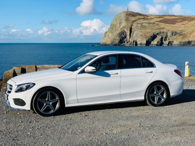 Mercedes-Benz C Class 2.0 C200 AMG Line 4dr Saloon Petrol White at Franklins Ltd Port Erin